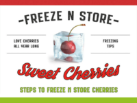 Freeze and store cherries