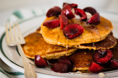 Cherry Cornmeal Pancakes