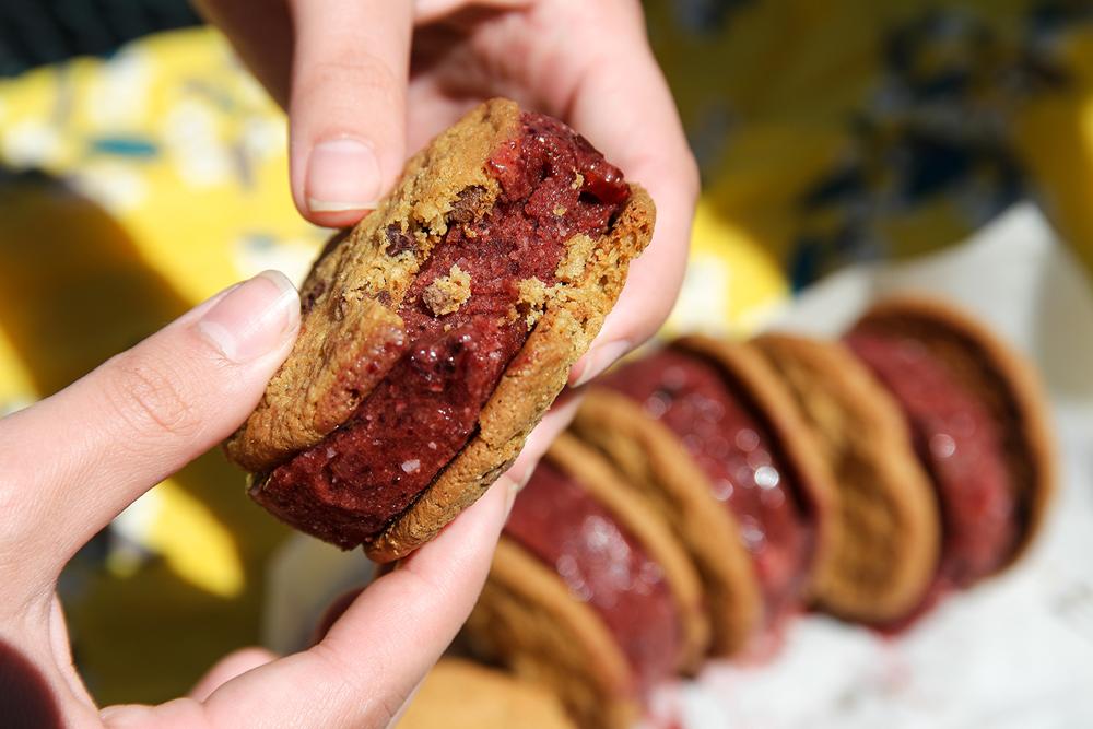 Frozen Cherry Cookie Sandwiches