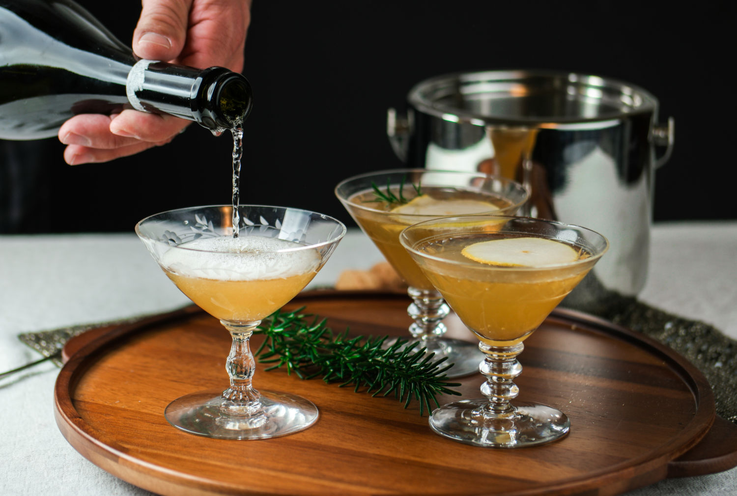 Sparkling Pear Rosemary Cocktail