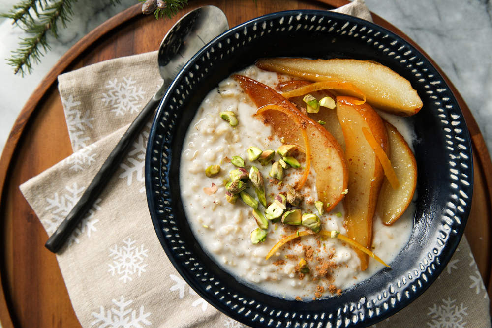 Roasted Pears Rice Pudding