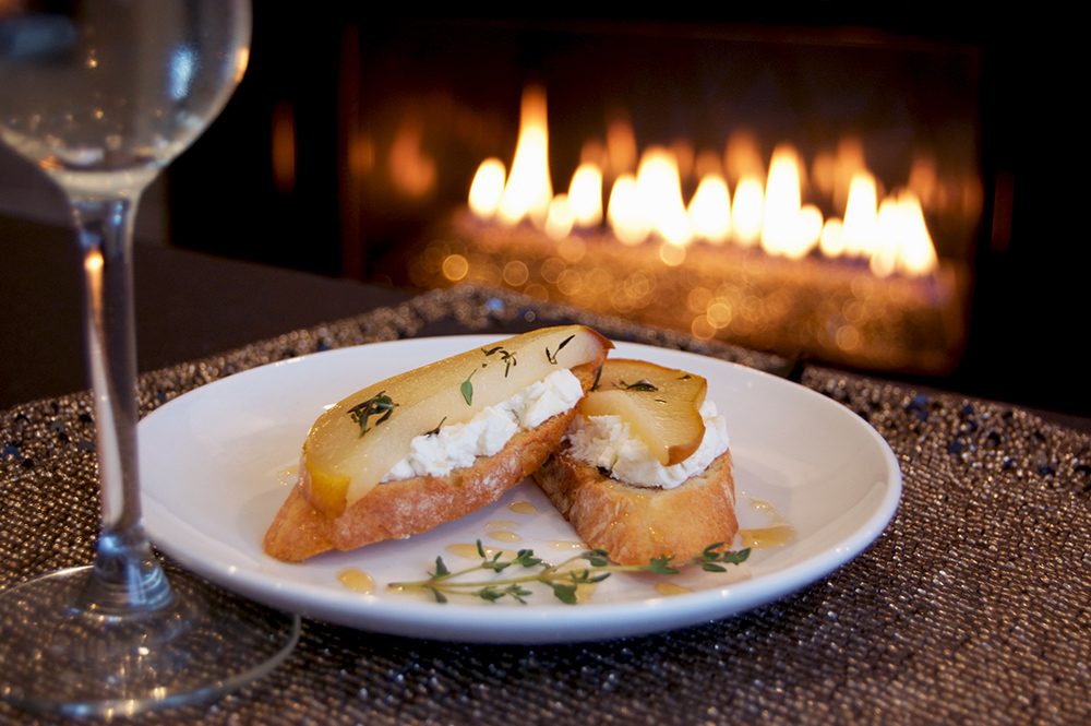 Roasted Honey Thyme Pear Crostinis